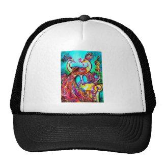 PEACOCKS IN LOVE  MONOGRAM red blue turquase green Trucker Hat