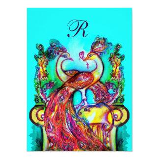 PEACOCKS IN LOVE MONOGRAM red blue turquase green 5.5x7.5 Paper Invitation Card