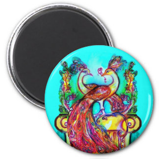 PEACOCKS IN LOVE  MONOGRAM red blue turquase green Magnet