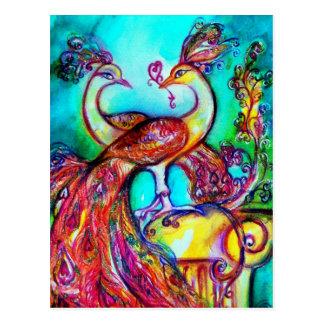 PEACOCKS IN LOVE  MONOGRAM red blue turquase green Postcard