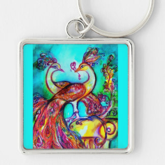 PEACOCKS IN LOVE  MONOGRAM red blue turquase green Silver-Colored Square Keychain