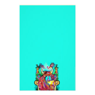 PEACOCKS IN LOVE  MONOGRAM red blue turquase green Stationery
