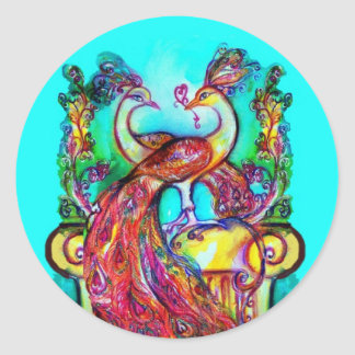 PEACOCKS IN LOVE  MONOGRAM red blue turquase green Classic Round Sticker
