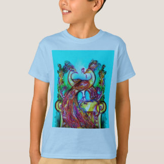 PEACOCKS IN LOVE  MONOGRAM red blue turquase green T-Shirt