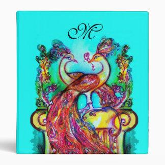 PEACOCKS IN LOVE MONOGRAM,red blue turquase purple Binder