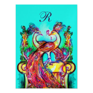 PEACOCKS IN LOVE MONOGRAM red teal blue green gold 5.5x7.5 Paper Invitation Card