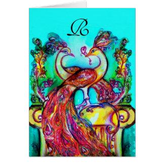 PEACOCKS IN LOVE MONOGRAM Valentine's Day Greeting Card