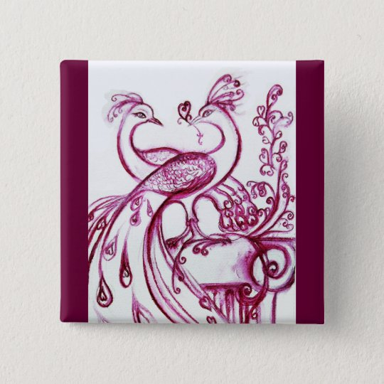 PEACOCKS IN LOVE Red and White Pinback Button