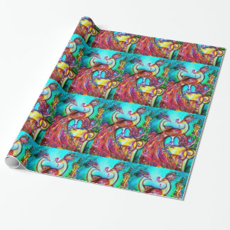 PEACOCKS IN LOVE ,red aqua blue green Wrapping Paper