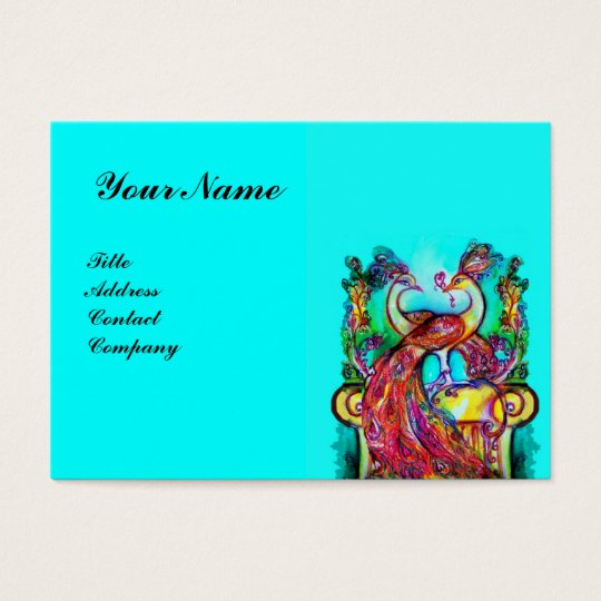 PEACOCKS IN LOVE,red blue turquase Business Card