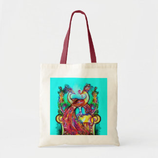 PEACOCKS IN LOVE  red blue turquase green Budget Tote Bag