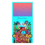 PEACOCKS IN LOVE ,red blue turquase green Card