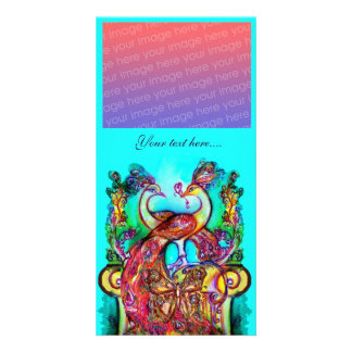 PEACOCKS IN LOVE ,red blue turquase green Photo Card