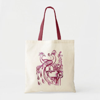 PEACOCKS IN LOVE  red white Budget Tote Bag