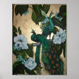 Peacocks in Magnolia Tree Poster