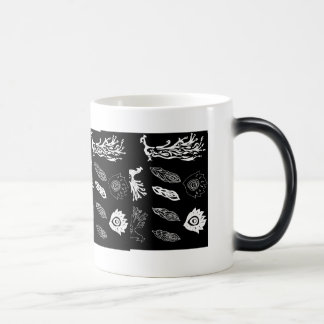 Peacocks & tail feathers black & white drawing 11 oz magic heat Color-Changing coffee mug