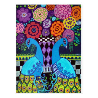 Peacocks with Flowers Art by heather Galler Postcard