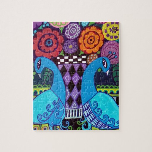 Peacocks with Flowers Art by heather Galler Puzzle