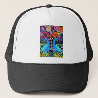 Peacocks with Flowers Art by heather Galler Trucker Hat