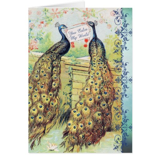 Peacocks:  You Color My World Greeting Card