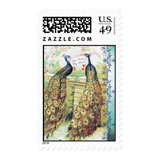Peacocks:  You Color My World Postage Stamps