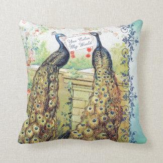 Peacocks:  You Color My World Throw Pillow