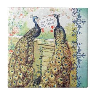 Peacocks:  You Color My World Tile