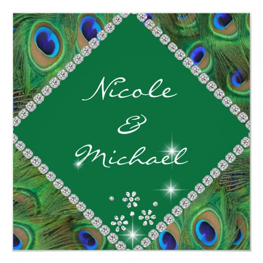 PEACOClK FEATHERS BLING WEDDING INVITATION