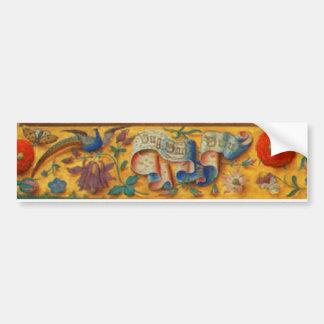 Peafowl and Floral Motif Bumper Sticker