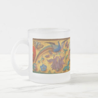 Peafowl and Floral Motif Frosted Glass Coffee Mug