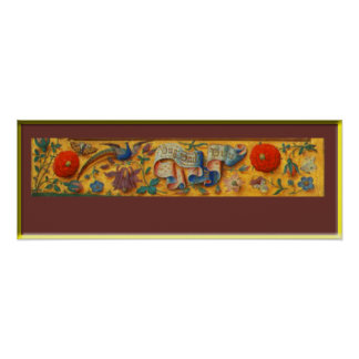 Peafowl and Floral Motif Poster