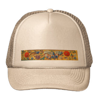 Peafowl and Floral Motif Trucker Hat