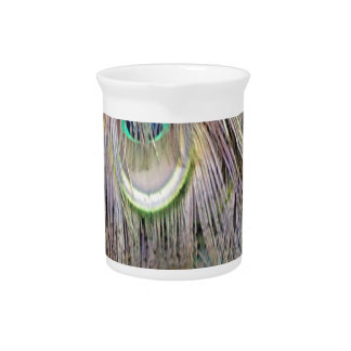 Peafowl Feathers Big  Eyes Dashing Colors Drink Pitcher
