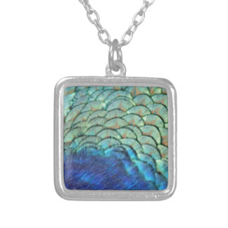 Peafowl Feathers blue And green Silver Plated Necklace