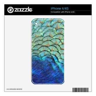 Peafowl Feathers blue And green Skins For The iPhone 4S