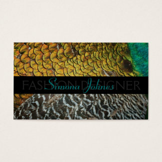 Peafowl Feathers Fashion Designer Business Card