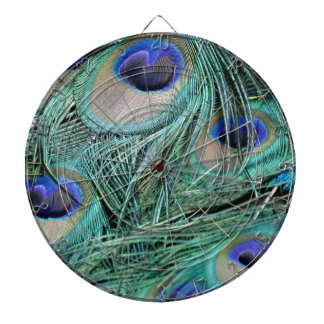 Peafowl Feathers Green And Blue Eyes Dartboard With Darts