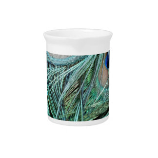 Peafowl Feathers Green And Blue Eyes Drink Pitchers