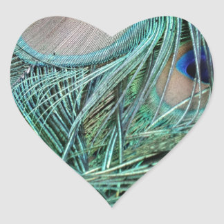 Peafowl Feathers Green And Blue Eyes Heart Sticker