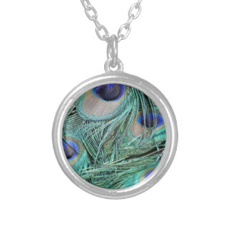 Peafowl Feathers Green And Blue Eyes Silver Plated Necklace