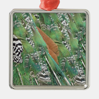 Peafowl Feathers Mixed Colors Metal Ornament