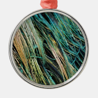 Peafowl Feathers No Eyes Colorful Metal Ornament