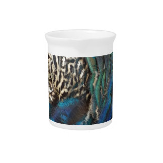 Peafowl Feathers Of All Colors Beverage Pitcher