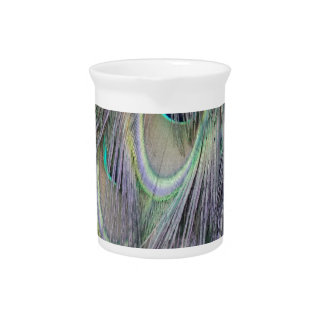 Peafowl Feathers Out Standing  Colors Beverage Pitchers