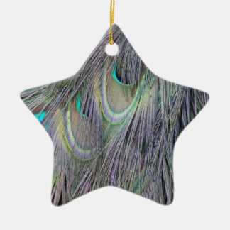 Peafowl Feathers Out Standing  Colors Ceramic Ornament