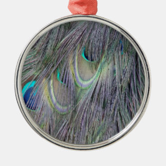 Peafowl Feathers Out Standing  Colors Metal Ornament
