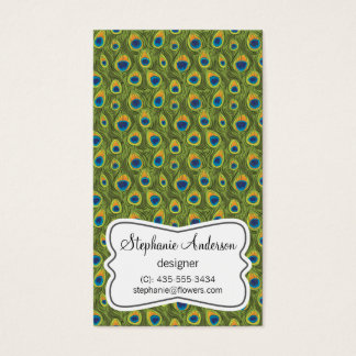 Peafowl Feathers Pattern Business Card