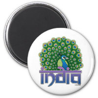 Peafowl of India Round Magnet
