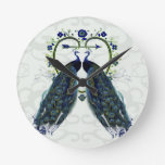 PEAFOWL peacock love heart personalized Round Wall Clock