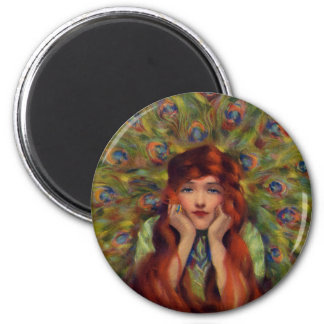 Peafowl vintage lady magnet